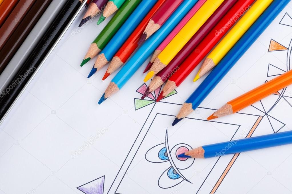 - Coloring Book And Colored Pencils With Partially Colored Picture — Stock  Photo © Xtrekx #109866888