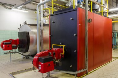 Gas boilers in gas boiler room