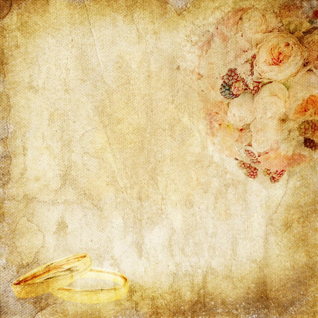 Jahrgang Papier Mit Hochzeitsstrauss Und Ringe Stockfoto C O April