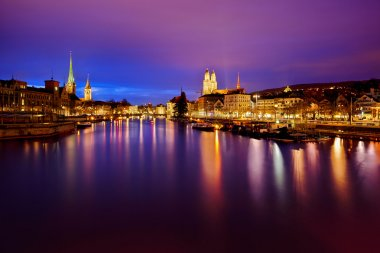 Zurich skyline and the Limmat river at night