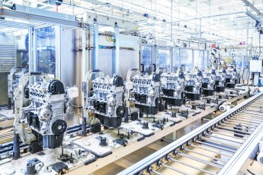 car engines at conveyor line
