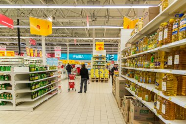 Moscow, Russia-April 24.2016. The interior of large store network Auchan
