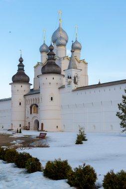 Rostov Veliky, Russia-March 30.2016.  Temples of  Rostov Kremlin in winter, Golden Ring tourist