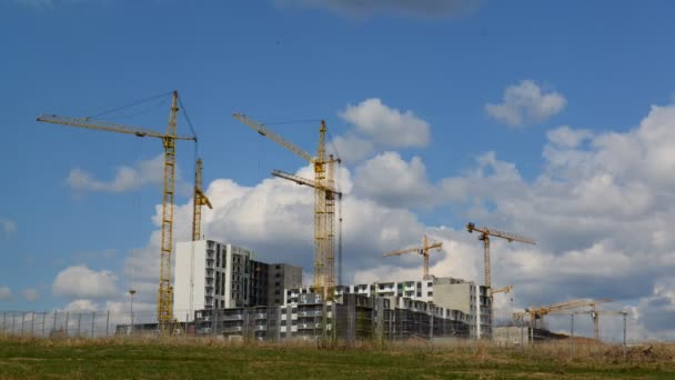Construction multistorey apartment houses, taymlapse