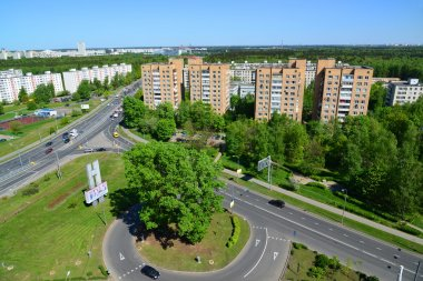 Moscow, Russia - May 13.2016.Top view of Solnechnaya alley in Zelenograd