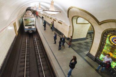 MOSCOW metro station Novoslobodskaia, Russia. Metro station Novoslobodskaia is a great monument of the Soviet era.