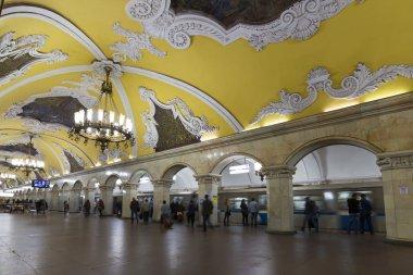 MOSCOW   metro station Komsomolskaya, Russia. Metro station Komsomolskaya is a great monument of the Soviet era.