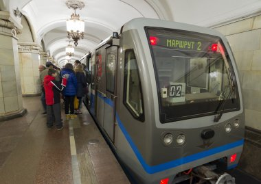 MOSCOW, RUSSIA 11.11.2014. metro station Taganskaya, Russia. Moscow Metro carries over 7 million passengers per day