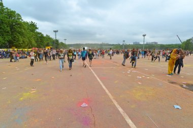 MOSCOW, RUSSIA - MAY 23, 2015: Festival of colors Holi in the Luzhniki Stadium. Roots of this fest are in India, where it called Holi Fest. Now russian people celebrate it too.