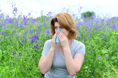 adult woman with allergies on the Meadow