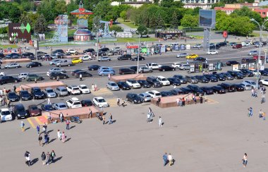 MOSCOW, RUSSIA - 26.06.2015. Top view on   Sadovoye Koltso - one of most important and major roads in  city.