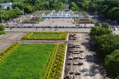 MOSCOW, RUSSIA - 26.06.2015. Gorky Park -Central Park of Culture and Rest in  summer, top view