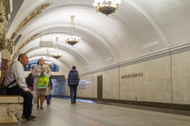 MOSCOW, RUSSIA -27.04.2015. subway stations Krasnopresnenskaya. Moscow Metro carries over 7 million passengers per a day