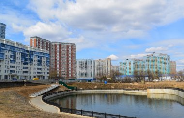 KRASNOGORSK, RUSSIA - APRIL 22,2015: The new construction districts in  suburbs. Area of residential development on about 2 million square feet