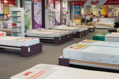 MOSCOW, RUSSIA - 24.09.2015. The interior of  shop Hoff - one of the largest Russian furniture network. Samples mattresses