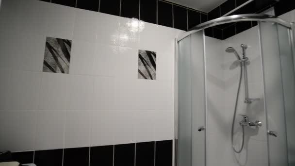 Interiéru černé a bílé koupelna se sprchou