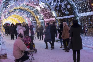 Moscow, Russia - January 17, 2015. A glowing Christmas  tunnel   long is 150 meters on Tverskoy Boulevard