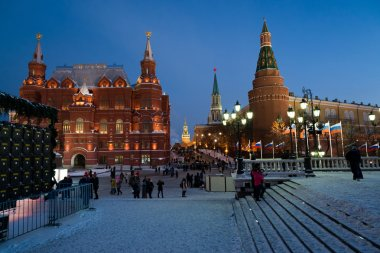 Moscow, Russia - January 10.2016.  View of  Kremlin and Historical Museum from Manezh Square at night