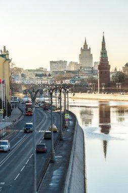 Moscow, Russia- February 18.2016. View of Sofiyskaya Embankment