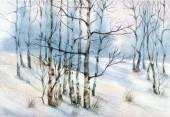 Akvarel Zimní krajina