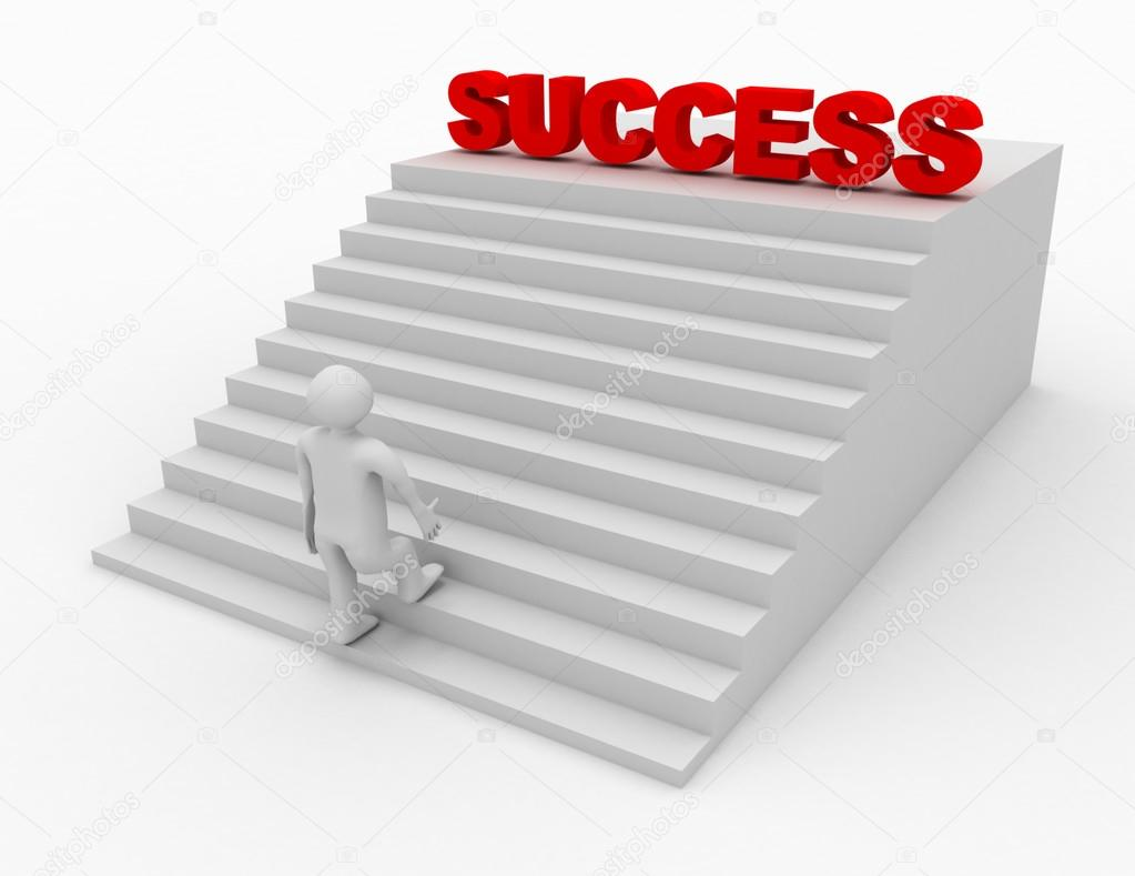 3d person climbing stairs that have the word success on top of t ... for Climbing Stairs To Success  21ane