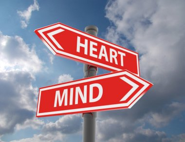 two road signs - heart or mind choice