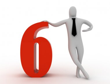 3d man hold number six
