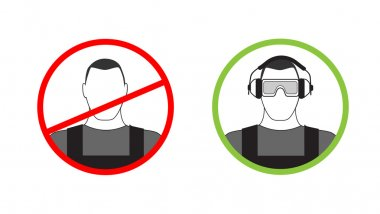Warning sign on the use of personal protective equipment
