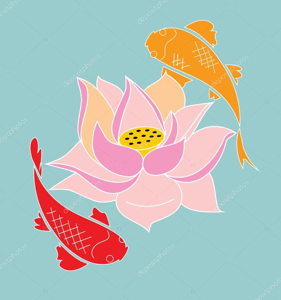 Japanese Koi And Lotus Flower Stock Vector Minyanna 107018400