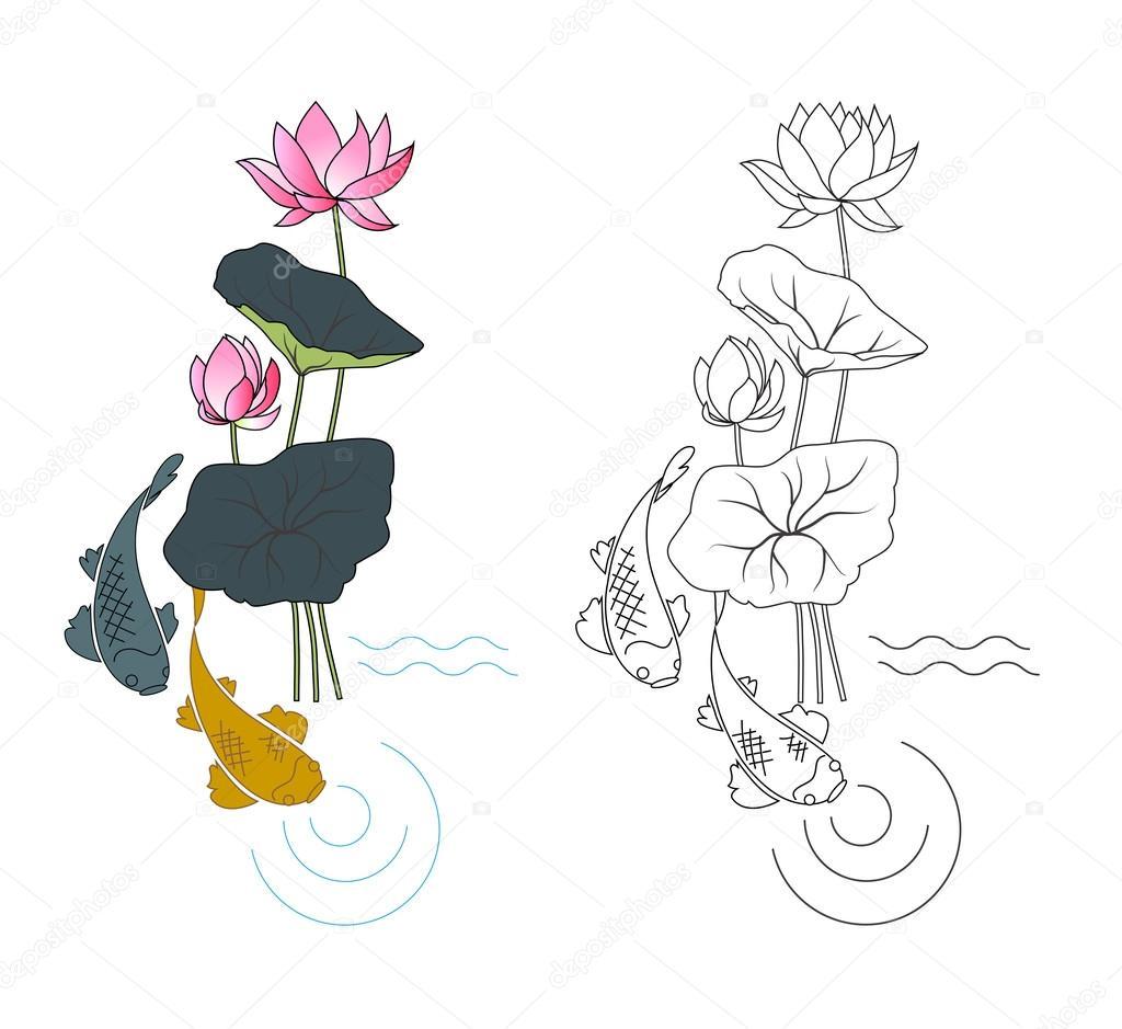 Fiore Di Loto E Pesce Disegni Da Colorare Vettoriali Stock