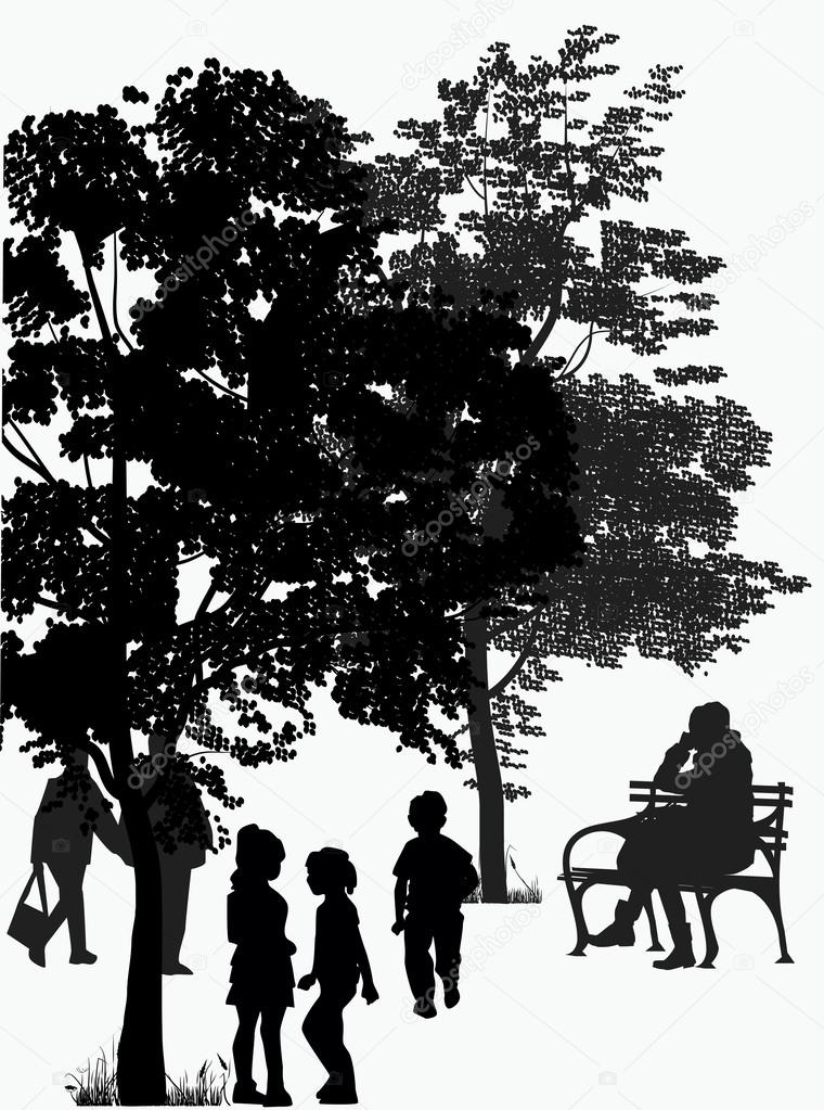 People walk in the park