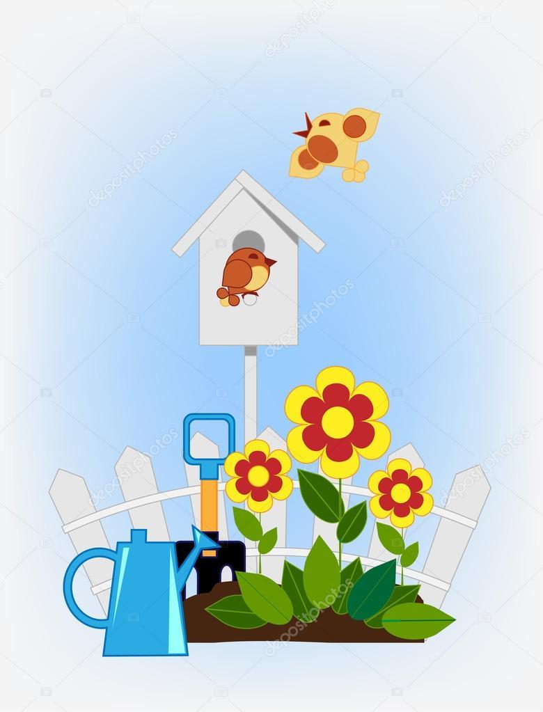 flower beds and bird house