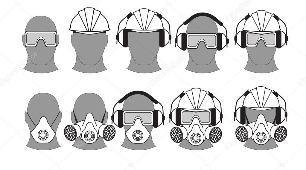 equipamentos de proteção individual — Vetores de Stock © Minyanna ... 2b70170556