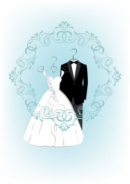 Wedding invitation with bride and groom clothes