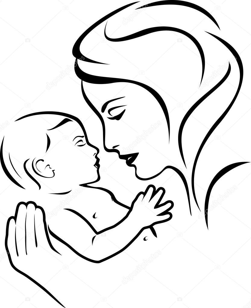 Bebé y la madre. Blanco y negro — Archivo Imágenes Vectoriales ...