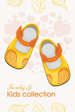 Kids shoes. Trendy collection. Label for design