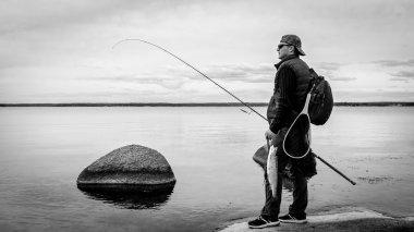 Monochrome fishing scenery