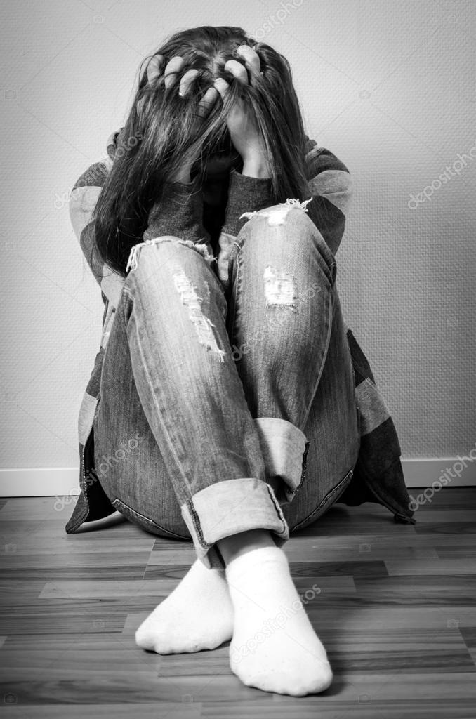 Depressed Girl Hiding Face Stock Photo C Peter77 62050241