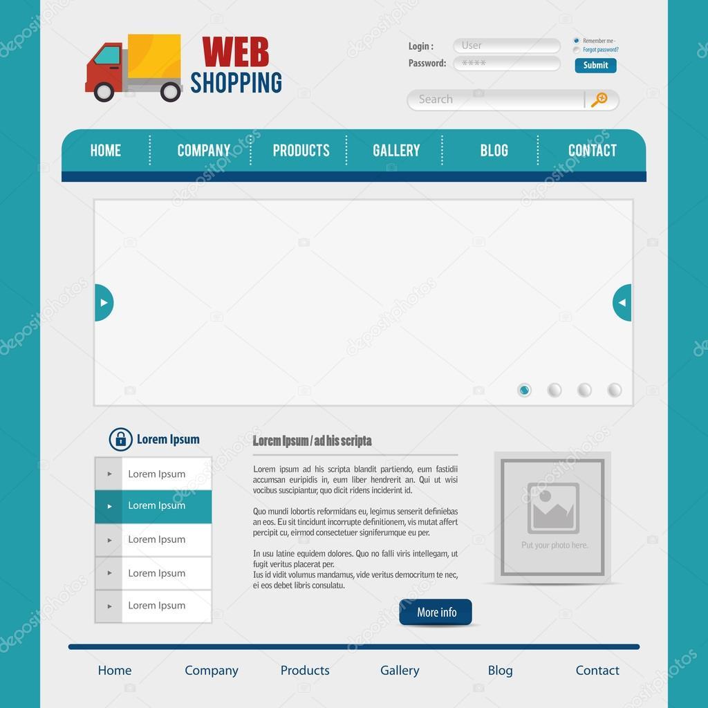 Website-Gestaltung-Vorlage-design — Stockvektor © yupiramos #105418426