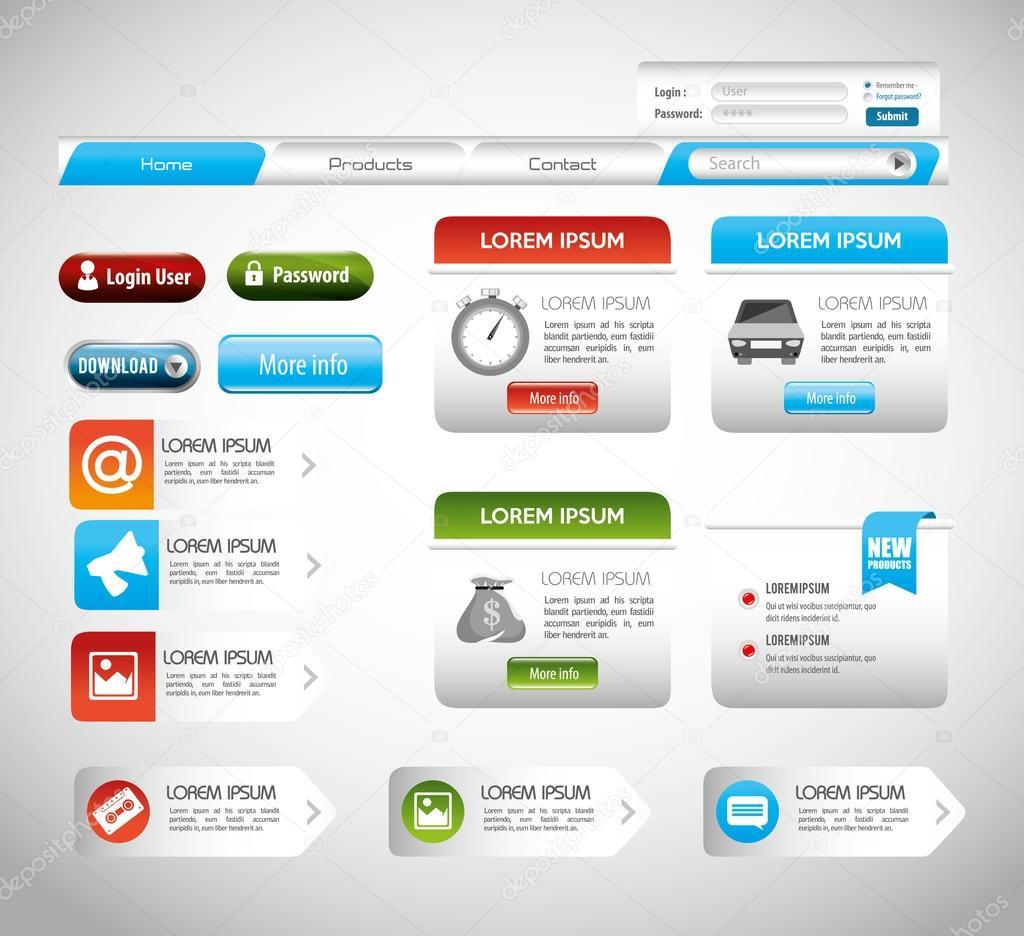 Website-Gestaltung-Vorlage-design — Stockvektor © yupiramos #105418448