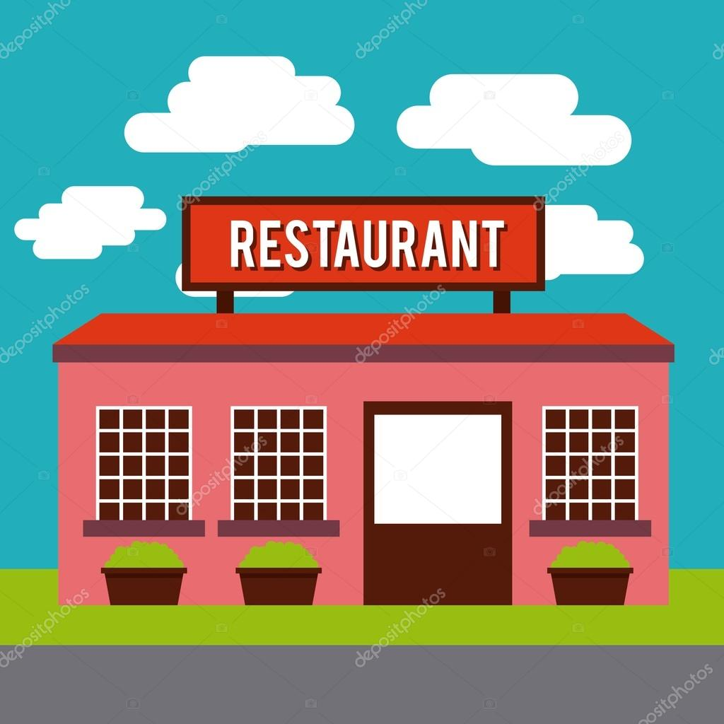 Restaurant outside design — stock vector yupiramos