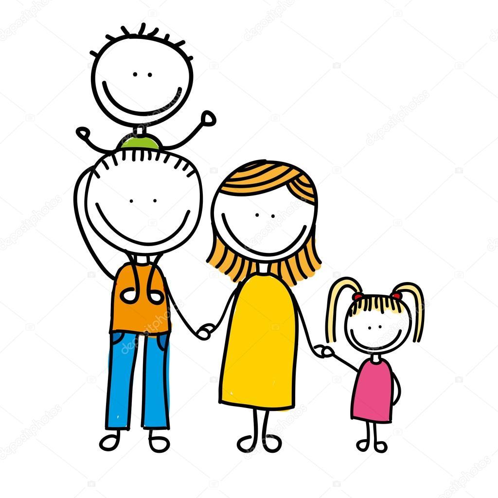 Happy Family Drawing Isolated Icon Design Stock Vector Yupiramos