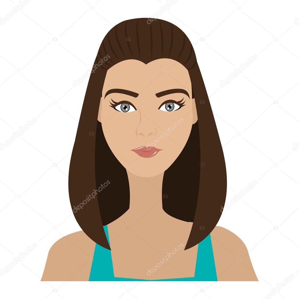 Desenho Animado Avatar Mulher Vista Frontal, Ilustração