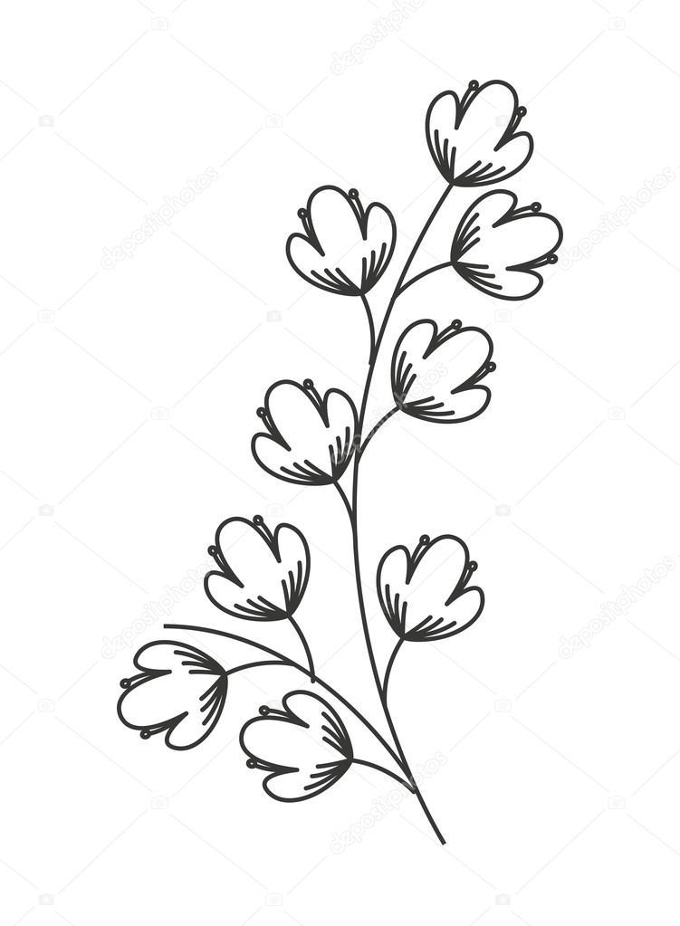Guirlande de fleurs isol es de dessin ic ne image - Fleurs en dessin ...
