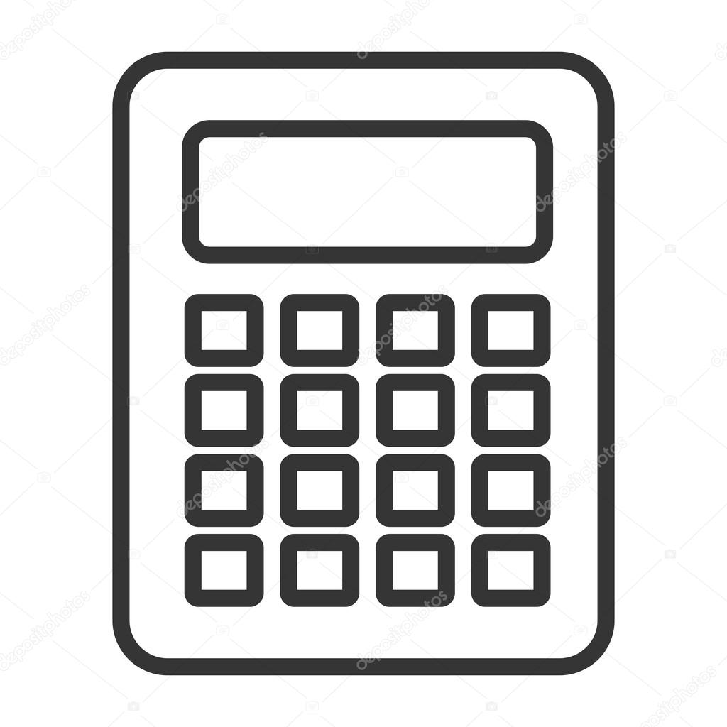black and white calculator, vector graphic — Stock Vector