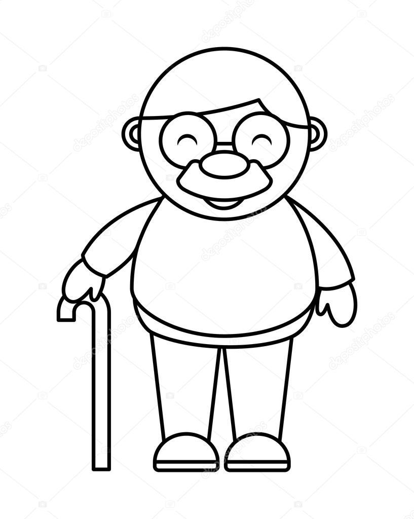 grand-père mignon isolé dessin icône — Image vectorielle yupiramos ... e44752ffbf62