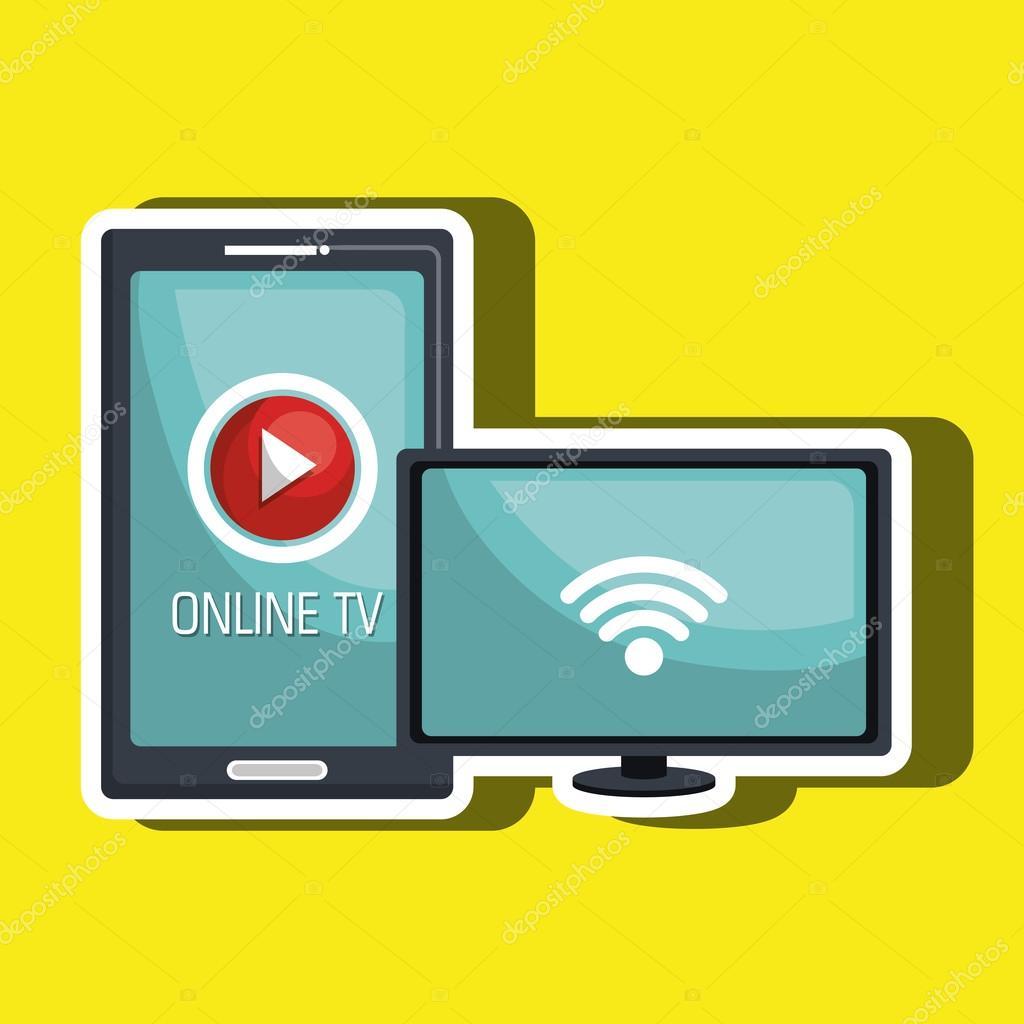 Design de cone online tv isolado vetor de stock yupiramos tv online isolado cone do design grfico ilustrao de vetor vetor por yupiramos stopboris Images