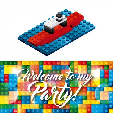 Party and Celebration concept represented by advertising icon with lego pieces design. Colorfull illustration. clip art vector