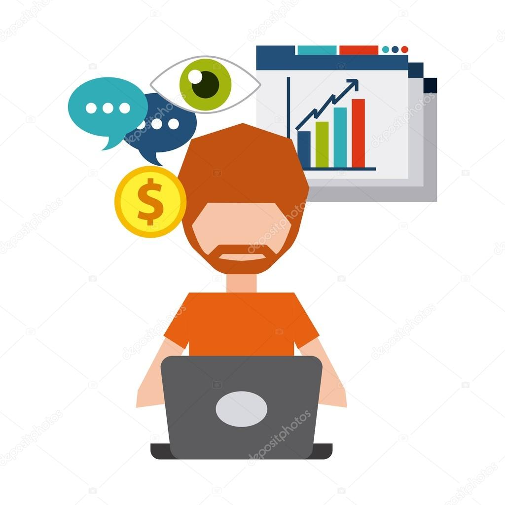 Blog And Internet Concept Represented By Cartoon With His Laptop Design Colorfull Flat Illustration Vector Yupiramos