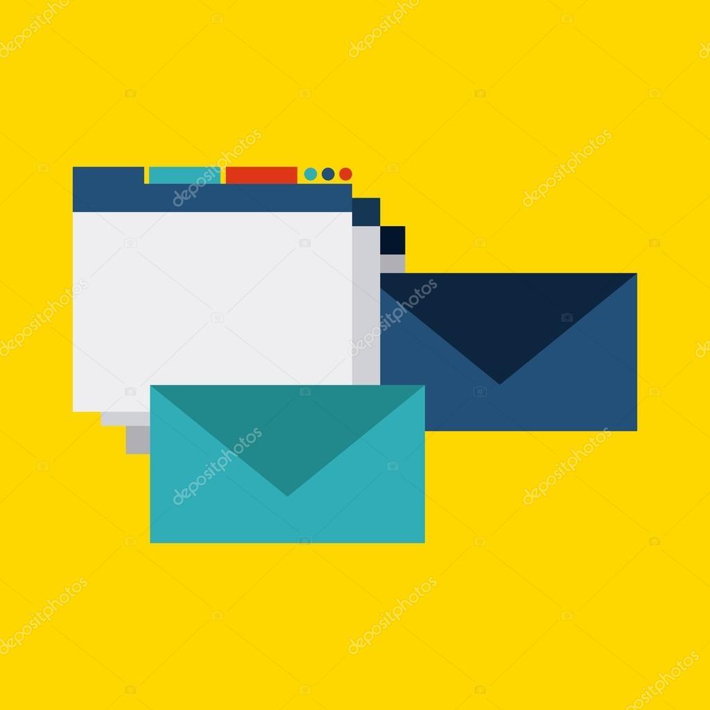 Blog And Internet Concept Represented By Website Envelope Design Colorfull Flat Illustration Vector Yupiramos